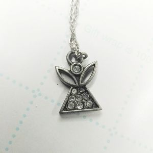 5/$25 Camco Silver Tone Rhinestone Angel Necklace